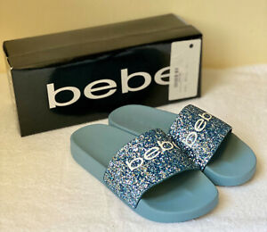 NEW! BEBE FRAIDA LIGHT BLUE GLITTER SLIP-ON SLIDES SANDALS SLIPPERS 7 37 SALE