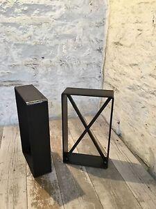 2 X Handmade Raw Steel Scaffold Plank Seat Bench Legs Industrial Style Cross