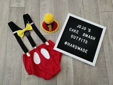 Baby Boys 1st Birthday Cake Smash Outfit. Black Red mickey mouse photo Prop