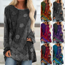 Women Crew Neck Long Sleeve T Shirt Casual Vintage Tunic Print Loose Blouse Tops