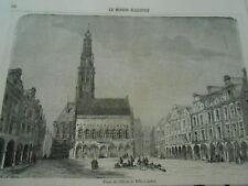 Gravure 1858 - Place de l'Hotel de Ville à Arras