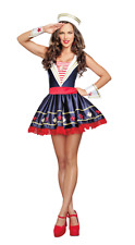 Sexy Women's Sailor Pin-Up Girl Costume Adult Halloween Fancy Dress Size Small