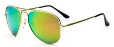 Mohawk Aviator Polarised Sunglasses + Pouch Gold + Green Mirror Lens Y20
