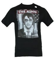 Elvis Presley Mens T-Shirt - The King in Front of the US Flag Photo Image