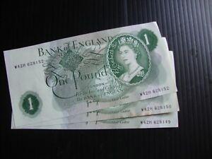 3 x Bank of England £1 Page 1970 Consecutive .