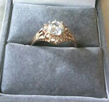Womens Stamped  18 Kt Rose Gold Plated  White Sapphire Ring Size N.5