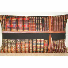 """NEW 20""""x12"""" Oblong Bolster Cushion Cover Library Book Spines Books Brown Gold"""