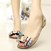 Women Rhinestone Jelly Sandals Summer Peep Toe Flats Slides Casual Shoes Slip On