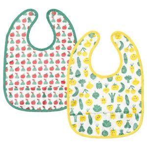 MATVRA Kid's Bib, fruit/vegetables pattern/green yellow