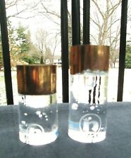 "MCM Sweden Glass Candle Holders Nybro Rune Strand Scandinavian Modern Etched ""N"""