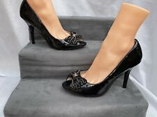Black Patent High Heels By Faith Size U.K. 8 Bejewelled Open Toe