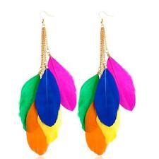 Fashion  Bohemian Handmade Vintage Feather  Long Drop Earrings Dangle Colorful