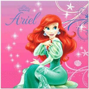 Little Mermaid Sparkle Ariel Lunch Napkins 16 Count Birthday Party Supplies New