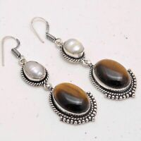Tiger Eye,Biwa Pearl Ethnic Jewelry Handmade Earrings ME-2354