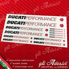 Set 13 Adesivi DUCATI Performance OLD moto Nero e Rosso su trasparente