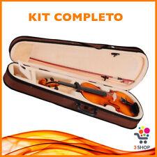 Kit Completo Violino 1/16 per studenti principiante da scuola con astuccio corde