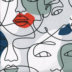 Textiles français Face 2 Face Cotton Fabric - 140 cm wide - Multicoloured