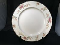 "MAYER CHINA 190 DINNER PLATE PINK BLUE RED FLOWERS FLORAL BROWN TRIM 9"" DIAMETER"