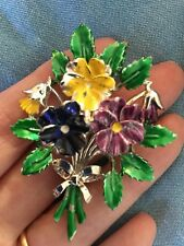Vintage Exquisite Birthday Brooch, May Pansy, 1950s enamel flower brooch signed