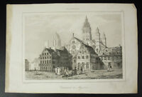 Cattedrale San Martino Di Mainz Incisione c1850 Lemaitre Martin Di Giri