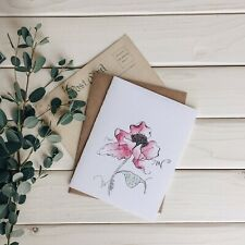 Hand Painted Watercolor Greeting Card - Pink Flower w Kraft Euro Flap Envelope
