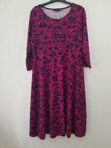 EWM ISLE Shift Midi Dress Size 16 Purple Floral Stretch Long Sleeve Casual