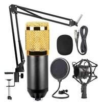 Condenser Microphone with Adjustable Suspension Scissor Arm Mount - Black