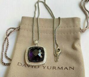"David Yurman 925 Albion 20mm Amethyst & Diamond Pendant Necklace 16"""