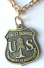 US FOREST SERVICE Department of Agriculture USDA Mini Badge PENDANT Necklace
