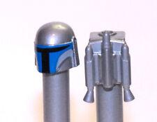 Lego New Star Wars Custom Jango Fett Helmet & Jet Pack- Metallic Silver/Chrome