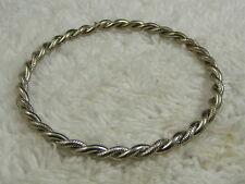 Bangle Bracelet (C46) Twisted Etched Silvertone
