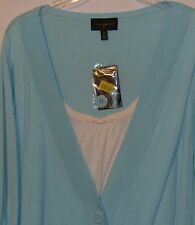 Investments II Dusty Turquoise  with White  Faux Twin Set Size 3X Washable New