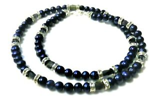 BLUE FRSHWATER PEARLS WITH AWESOME NATURAL IOLITES ZIRCONIA SPARKLE