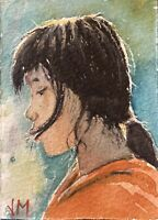 Aceo Original Watercolor Portrait Painting   Art Card  Chinese Girl