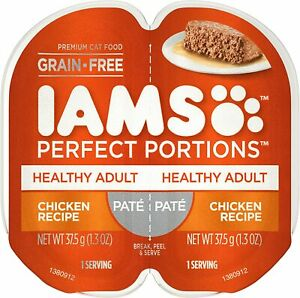 IAMS Perfect Portions Healthy Adult Grain Free Chicken Recipe Pate, 6-Twin Packs