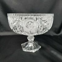 VTG German Hand Cut Lead Crystal Compote on Pedestal Clear And Frosted Roses