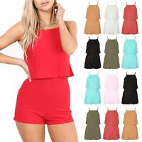 Womens All in One Open Back Jumpsuit Playsuit Square Neck Frill Cami Plus Size