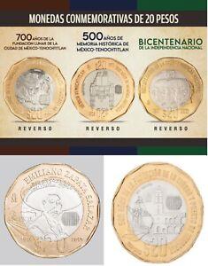 LOT OF 5 COINS 20 PESO COINS - MONEDAS CONMEMORATIVAS COLECCION