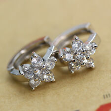 1Pair Women 925 Silver Filled Snowflake Shaped White Zircon Buckle Stud Earring