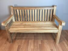 Two person Solid Teak Wood Outdoor Patio Garden Bench with Back, Big Carved Arm