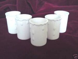 5 chandelier lamp holder candle sleeves white drip plastic 50x33mm lamp covers