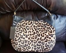 NWT Black MARGOT Leopard Print Calf Hair   Black Leather Satchel Hobo Bag M