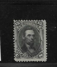 "Us Scott #98 used 15c black Lincoln bank note ""F"" grill 1868 light cancels fine"