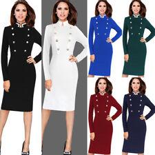 Womens Elegant Retro Button Autumn Winter Work Office Party Bodycon Sheath Dress