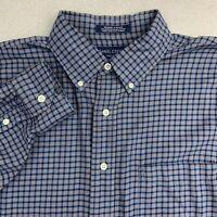 Daniel Cremieux Button Up Shirt Mens Sz L Blue Yellow Long Sleeve Flannel Plaid