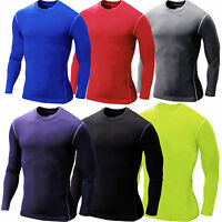 Mens T Shirt Compression Base Layer Long Sleeve Under Body Top Thermal Fitness