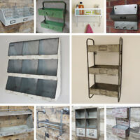 Industrial Metal Wall Cabinet Distressed Aged Style Storage Shelf Coat Hooks NEW