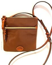DOONEY & BOURKE Brown Nylon Leather Double Zip Crossbody Handbag    NEW