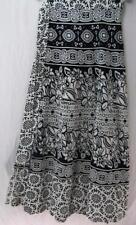 Tienda Ho~BLK & WHITE~Long wrap skirt~HANDWOVEN COTTON~folk print~INDIAN~plus~OS