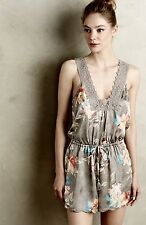NEW Anthropologie Eloise gray Floral Silky Lace Trim Drawstring Lounge Romper M